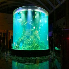 Kina anpassade billiga super stora runda pmma glas akvarier tydliga cylinder akryl fisk tankar